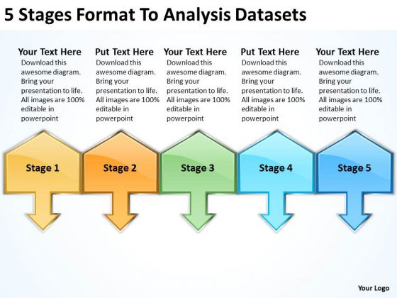 5 Stages Format To Analysis Datasets Simple Business Plan Template PowerPoint Slides