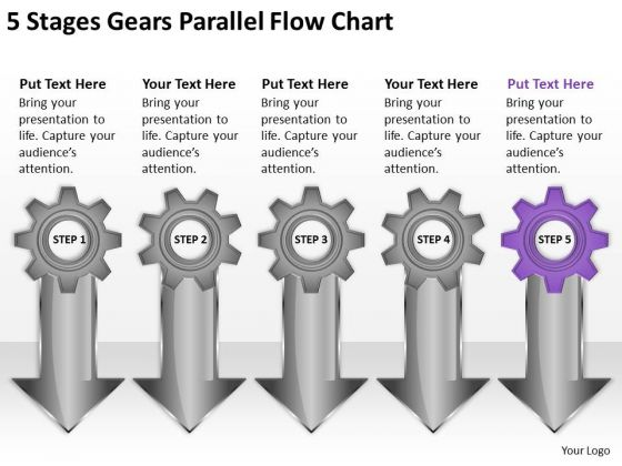5 Stages Gears Parallel Flow Chart Business Plan Template PowerPoint Slides