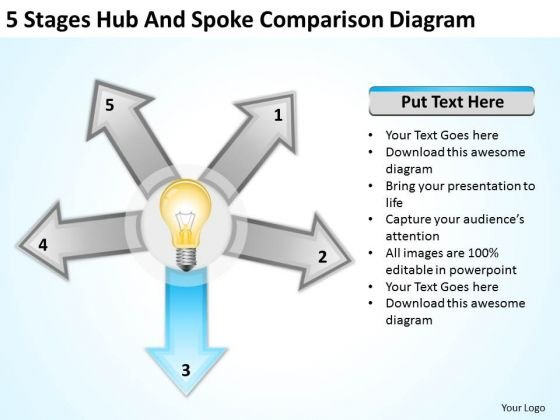 5_stages_hub_and_spoke_comparison_diagram_business_plan_for_bar_powerpoint_templates_1