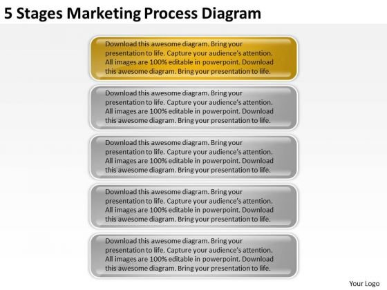 5 Stages Marketing Process Diagram Business Plan PowerPoint Slides