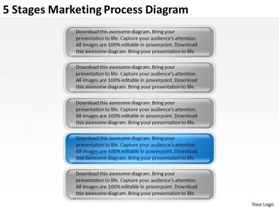 5 Stages Marketing Process Diagram Cost Of Business Plan PowerPoint Slides