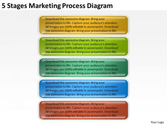 5 Stages Marketing Process Diagram Online Business Plan Creator PowerPoint Slides