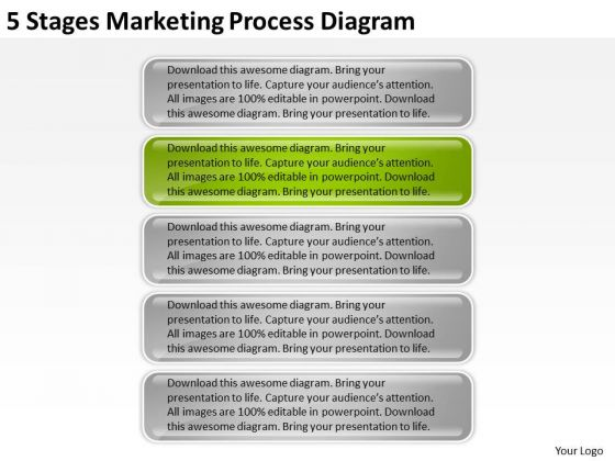 5 Stages Marketing Process Diagram Sample Business Proposal PowerPoint Slides