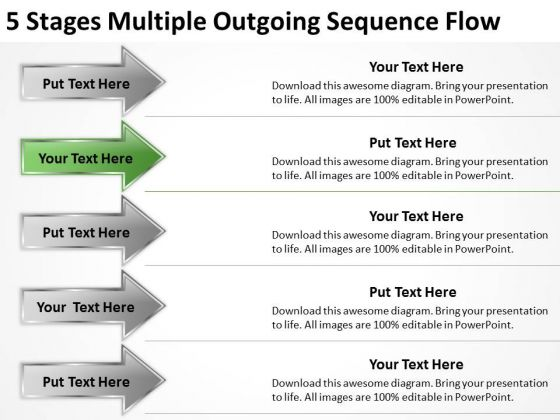 5 Stages Multiple Outgoing Sequence Flow Building Business Plan Template PowerPoint Slides