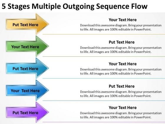5 Stages Multiple Outgoing Sequence Flow Business Plan Proposal