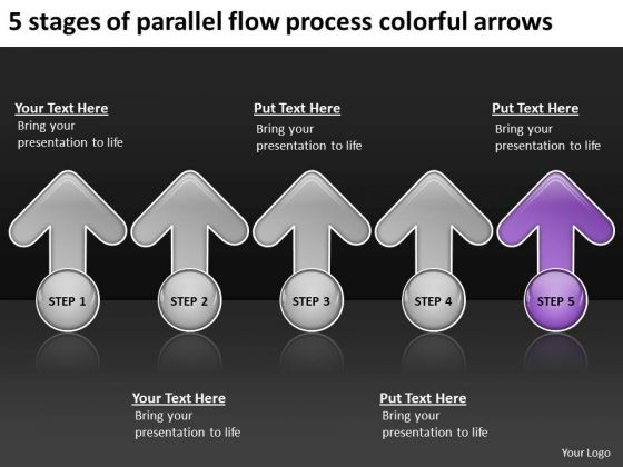 5 Stages Of Parallel Flow Process Colorful Arrows Ppt Business Plan Cover Page PowerPoint Slides