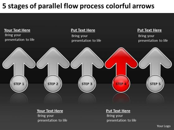 5 Stages Of Parallel Flow Process Colorful Arrows Ppt Business Plan Service PowerPoint Templates
