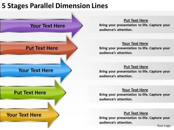 5 Stages Parallel Dimension Lines Business Plan Format Outline PowerPoint Templates