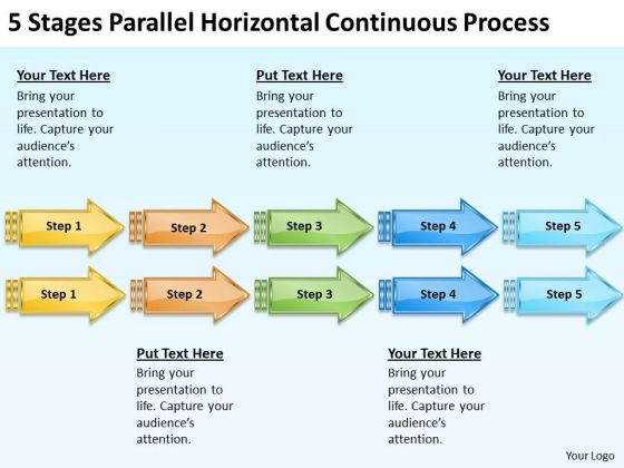 5 stages parallel horizontal continuous process mini business plan template powerpoint slides powerpoint templates