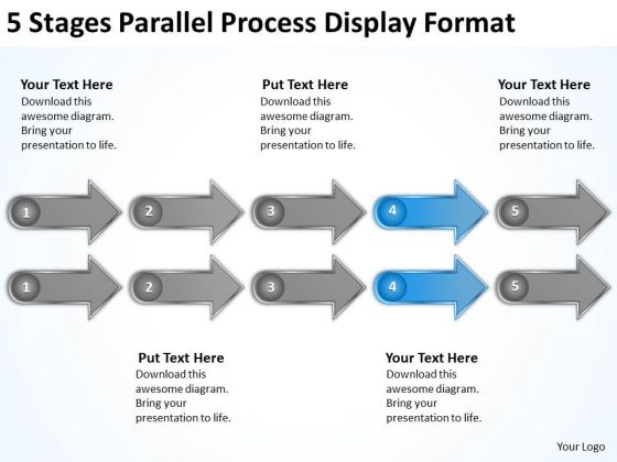 5 Stages Parallel Process Display Format Business Plan Formats PowerPoint Slides