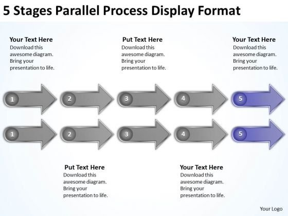 5 Stages Parallel Process Display Format Ppt Business Plan Companies PowerPoint Slides