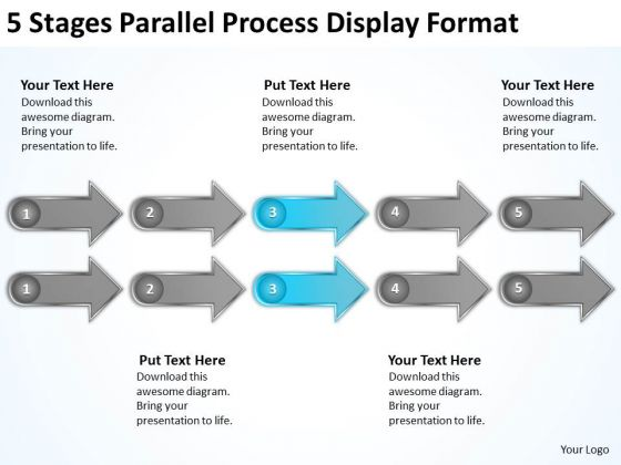 5 Stages Parallel Process Display Format Sample Of Small Business Plan PowerPoint Templates
