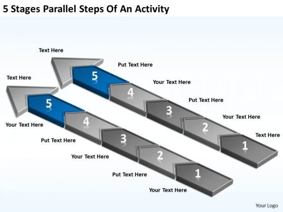 5 Stages Parallel Steps Of An Activity Ppt Business Plan Creation PowerPoint Slides