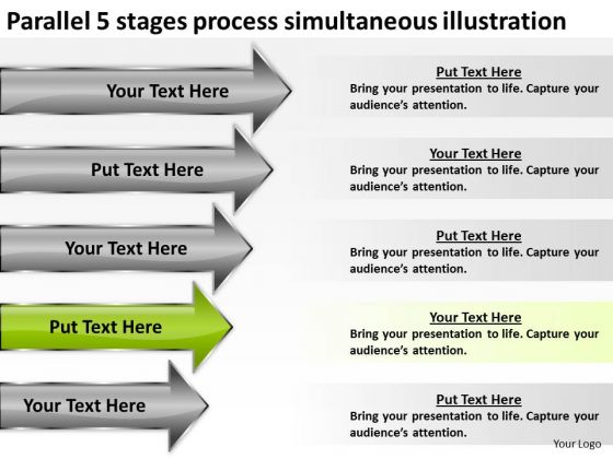5 Stages Process Simultaneous Illustration Business Plan Examples PowerPoint Templates