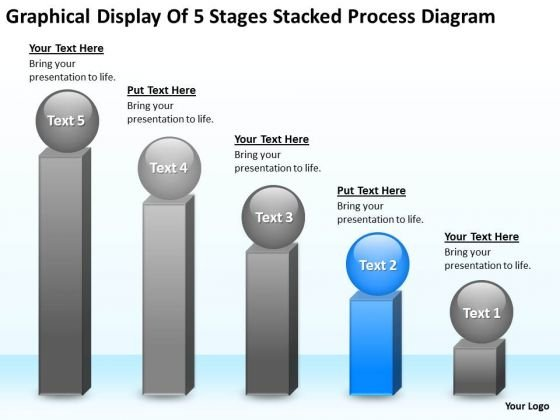 5 Stages Stacked Process Diagram Ppt Write Business Plan Template Free PowerPoint Slides