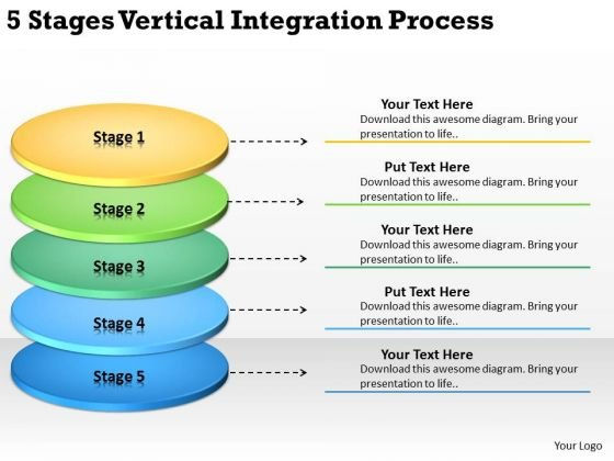 5 Stages Vertical Integration Process Business Plan Online PowerPoint Templates