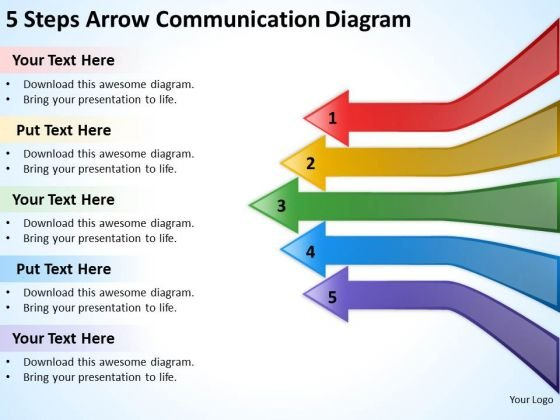 5 Steps Arrow Communication Diagram Buy Business Plans PowerPoint Slides