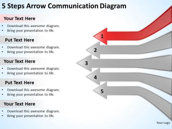 5 Steps Arrow Communication Diagram Cell Phone Business Plans PowerPoint Slides