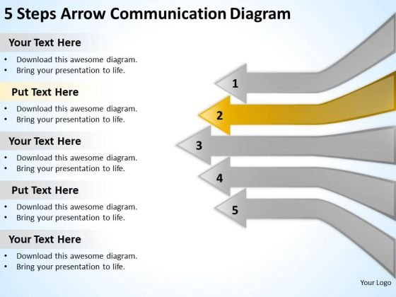 5 steps arrow communication diagram real estate business plan examples powerpoint slides powerpoint templates