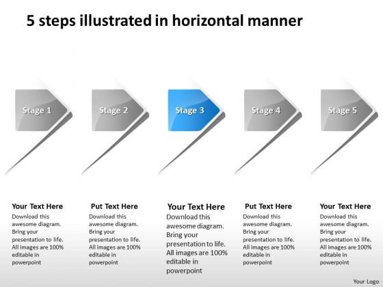 5 Steps Illustrated In Horizontal Manner Business Production Plan PowerPoint Slides