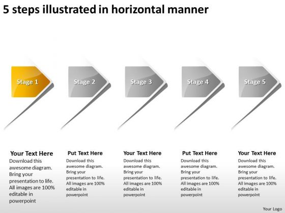 5 Steps Illustrated In Horizontal Manner Open Source Flowchart PowerPoint Slides