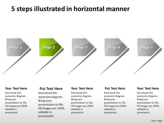 5 Steps Illustrated In Horizontal Manner Process Flow Charts Examples PowerPoint Templates
