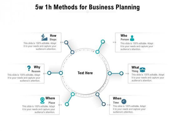 5w 1h Methods For Business Planning Ppt PowerPoint Presentation Outline Samples PDF