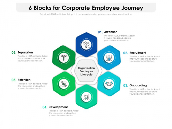 6 Blocks For Corporate Employee Journey Ppt PowerPoint Presentation Gallery Design Ideas PDF