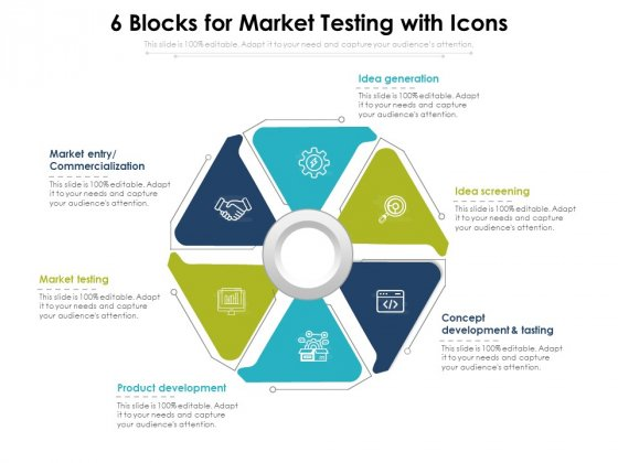 6 Blocks For Market Testing With Icons Ppt PowerPoint Presentation Gallery Icon PDF