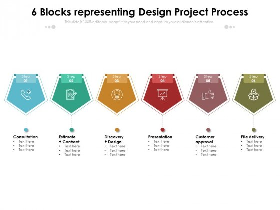 6 Blocks Representing Design Project Process Ppt PowerPoint Presentation File Rules PDF
