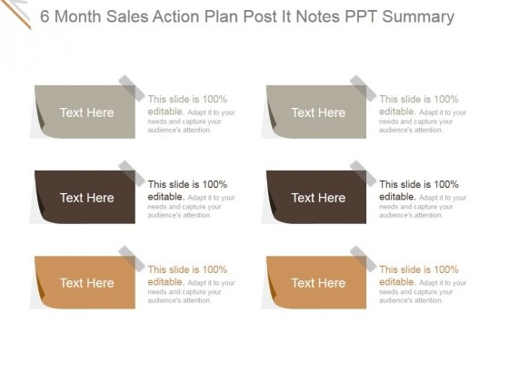 6 Month Sales Action Plan Post It Notes Ppt PowerPoint Presentation Inspiration