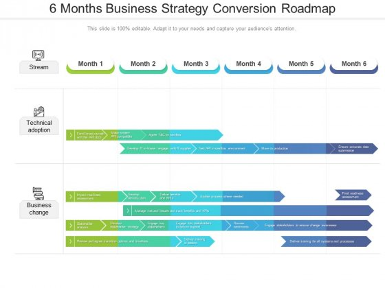 6 Months Business Strategy Conversion Roadmap Structure