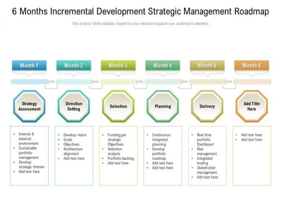 6_Months_Incremental_Development_Strategic_Management_Roadmap_Slides_Slide_1