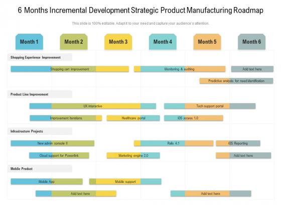 6_Months_Incremental_Development_Strategic_Product_Manufacturing_Roadmap_Formats_Slide_1