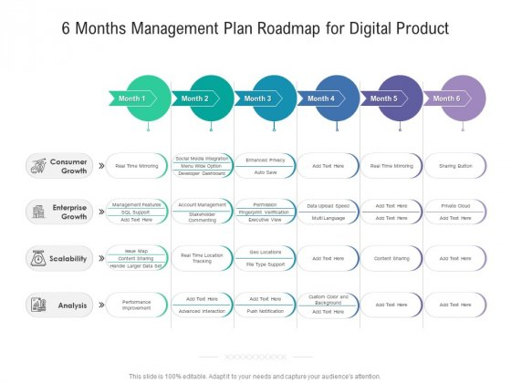 6 Months Management Plan Roadmap For Digital Product Formats