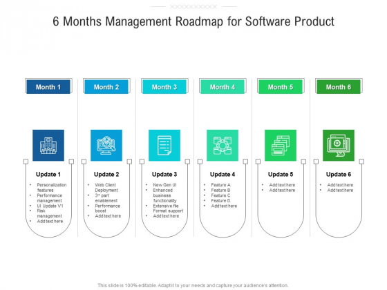 6 Months Management Roadmap For Software Product Portrait