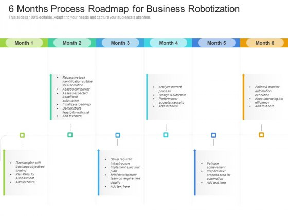 6 Months Process Roadmap For Business Robotization Pictures