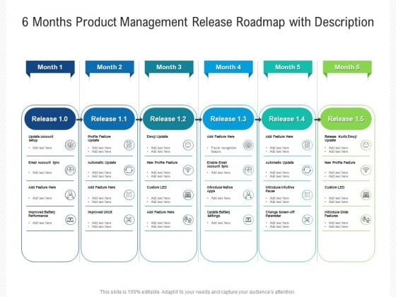 6 Months Product Management Release Roadmap With Description Graphics