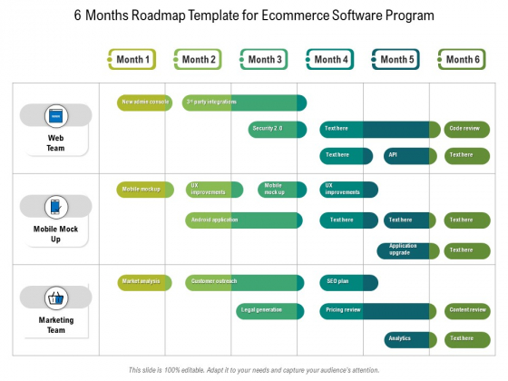 6 Months Roadmap Template For Ecommerce Software Program Topics