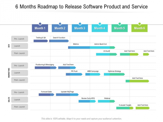 6 Months Roadmap To Release Software Product And Service Icons
