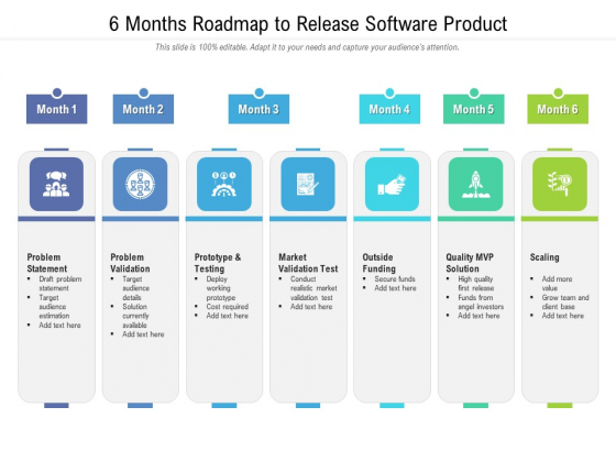 6 Months Roadmap To Release Software Product Designs