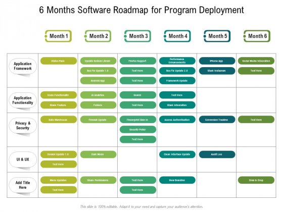 6 Months Software Roadmap For Program Deployment Pictures