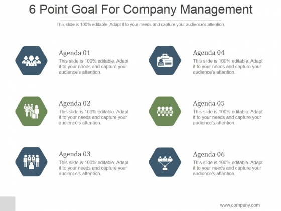6 Point Goal For Company Management Ppt PowerPoint Presentation Slide