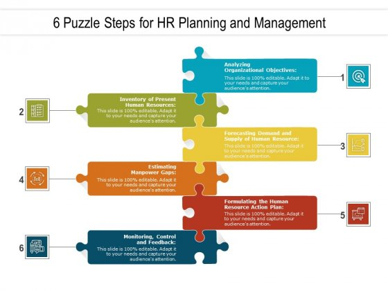6 Puzzle Steps For HR Planning And Management Ppt PowerPoint Presentation Icon Graphics Pictures PDF