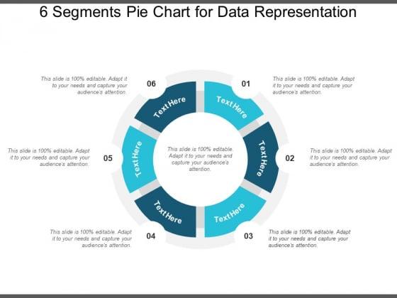 6 Segments Pie Chart For Data Representation Ppt PowerPoint Presentation Icon Graphics