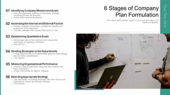 6 Stages Of Company Plan Formulation Ppt PowerPoint Presentation Gallery Design Templates PDF