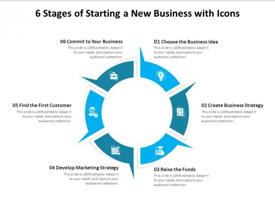 6 Stages Of Starting A New Business With Icons Ppt PowerPoint Presentation File Brochure PDF