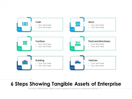 6 Steps Showing Tangible Assets Of Enterprise Ppt PowerPoint Presentation Styles Grid PDF