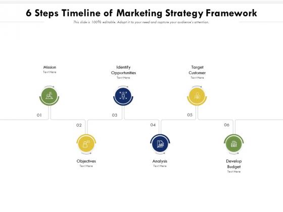 6 Steps Timeline Of Marketing Strategy Framework Ppt PowerPoint Presentation Gallery Deck PDF