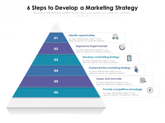 6 Steps To Develop A Marketing Strategy Ppt PowerPoint Presentation File Display PDF
